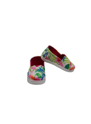 First Step Çiçekli Keten Ayakkabı Pembe Fuşya
